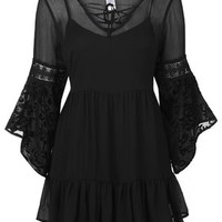 Chiffon Bell Sleeve Dress by Band of Gypsies - Multi