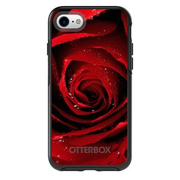 DistinctInk™ OtterBox Symmetry Series Case for Apple iPhone / Samsung Galaxy / Google Pixel - Dew Covered Red Rose