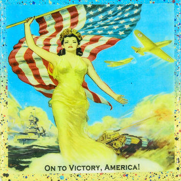 Vintage Patriotic Military Art - Vintage Lady Liberty - On To Victory, America!- Handmade Recycled Tile Coaster