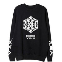 Fashion kpop vixx 2nd album chained up member name printing o neck sweatshirt lovers pullover hoodie plus size fans clothes