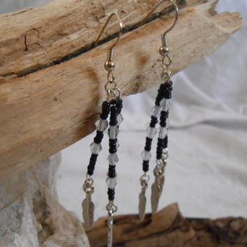 Black Seed Bead and Clear Swarovski Crystal Earrings with Silver Feather Dangles, Handmade, Native American Inspired, Powwow, Mountain Man