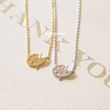 Paint Palette Charm Necklace, Tiny Charm Necklace, Dainty Charm Necklace, Necklaces, Hipster Necklace, Charms, Holiday Gifts, Gift Ideas
