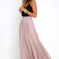 Axis of Rotation Mauve Pleated Maxi Skirt