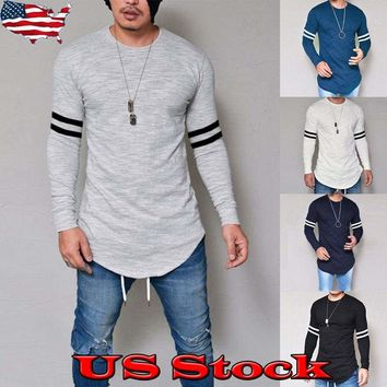 Fashion Mens O-Neck Long Sleeve Solid Curved Hem Slim Fit Casual T-Shirt Top Tee