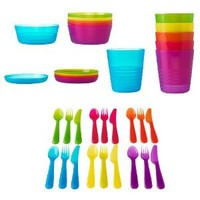 Ikea 36 Pcs Kalas Kids Plastic BPA Free Flatware, Bowl, Plate, Tumbler Set, Colorful