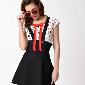 Lindy Bop Retro Style White & Red Dice Print Delia' Top