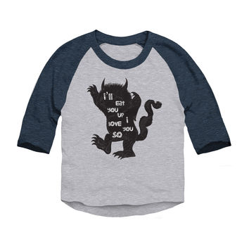 Where The Wild Things Are Silhouette 3/4 Sleeve Raglan Baseball T-Shirt