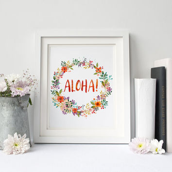 Aloha, Watercolor Wild Flowers Digital Print, Nursery Wall Decor, Typography, Coastal Welcome, Home Summer, Poster Art, Flora, Modern