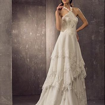 Wedding Dress - Classic & Timeless Bridal Gown chiffon lace vintage look