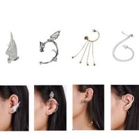 Bundle Monster 6pc Punk Style Ear Wrap Charm Cuff Earring for Pierced + Non Pierced Ears Set 2