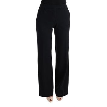 Black Viscose Flare Bootcut Pants