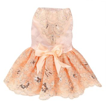 Cream Sequins Lace Embroidered Dog Dress Princess