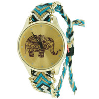 Elephant Print Threaded Friendship Watch - Blue