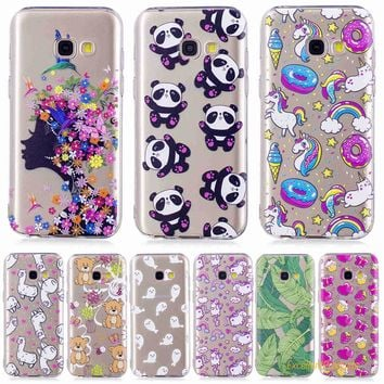 FGHGF For Samsung A5 2017 tree leaf cat butterfly flower girl panda Bear horse cartoon Pattern Soft TPU phone case