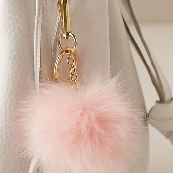 Light-Up Faux Fur Pom Pom Keychain | Urban Outfitters