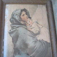 Antique Framed Print; La Madonnina; Roberto Feruzzi Print; Blue Art/Catholic