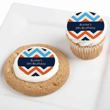 Chevron Boy Bruffday - Personalized Dog Birthday Party Edible Cupcake Toppers - 12 ct