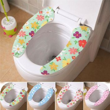 1Pair Soft Comfortable Artificial Fiber Washable Bathroom Toilet Seat Cover Mat Lid Closestool nonwoven