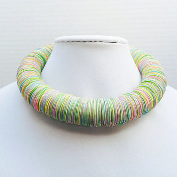 Paper necklace, Spring jewelry, Easter, pastel, First Anniversary, Paper jewelry, Pastel, Bold Statement necklace, upcycled jewelry