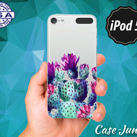 Cactus Watercolor Tumblr Inspired Purple Blue Succulent Cacti Rubber Transparent Clear Case For iPod Touch 5th Generation iPod Touch 6th Gen