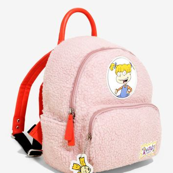 Licensed cool Nickelodeon Rugrats Angelica Sherpa Soft PINK Mini Backpack School Book Bag NWT