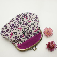Coin purse violet with swallows