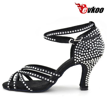 Ladies Latin Dance Shoes 2016 New Style EVKOO DANCE Black Tan Satin 8cm  Salsa Dance Shoes With Rhinestones Evkoo-073