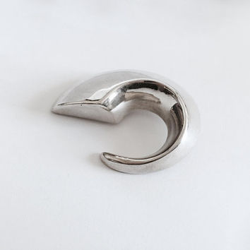 Vintage Signed Simon Sebbag Sterling Silver Brooch made in Israel, Modernist Brooch Pin, Large Curved Modern Style Brooch ,Statement Pin