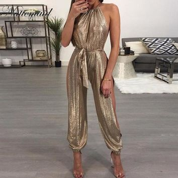Women Summer Style Clothing Overalls Brand Casual Gold Sleeveless Halter Keyhole Jumpsuit
