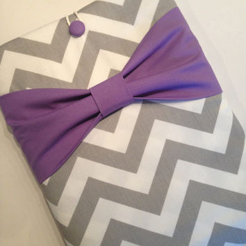 "Macbook Pro 13 Sleeve MAC Macbook 13"" inch Laptop Computer Case Cover Outer Pocket Grey Chevron with Purple Bow"