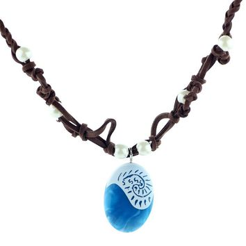 "Ocean Rope Blue Stone Chain Necklace from ""Moana"""
