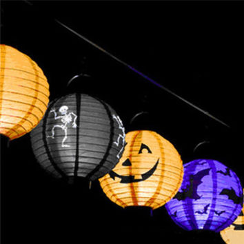 Hot sale 1 pcs Halloween Decoration LED Paper Pumpkin Light Hanging Lantern Lamp Halloween Props Outdoor Party Supplies sale