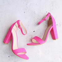 Fuchsia / Neon Pink Suede Ankle Strap Heels