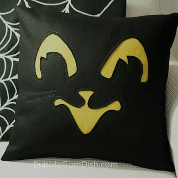 Black Cat Halloween Pillow Cover Trixie Wool 18x18