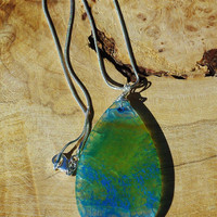 Mermaid Scales Necklace ~ Blue Green Dragon Vein Agate ~ Stone Pendant ~ Sterling Silver Chain ~ Fantasy Jewelry ~ Hand Wired ~ Holiday Gift