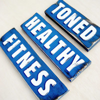 Set of 3 Signs - Health and Fitness - Get Fit - Custom Sign - Exercise Motivation - Fitness Decor - Blue Sign - Healthy Living -Personalized