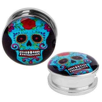 Plugs 12mm Stainless Steel Screw Fit Double Flare Sugar Skull Plugs 12mm (1/2...
