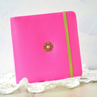 Small vegan leather notebook Pink poket journal Girls notebook Blank pages book Leather mini journal Girls notebook password book Gold Pink