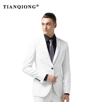 TIAN QIONG 2018 Talior Made White Groom Tuxedos for Wedding 2 Pieces Men Prom Party Suits Best Man Suit Casual Blazer Terno
