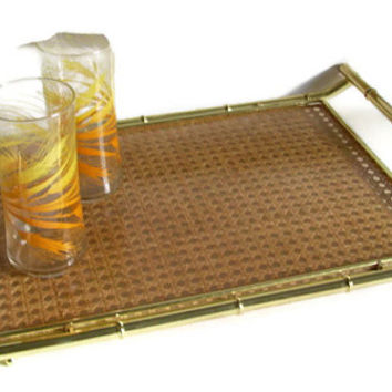 "Vintage Gold Bamboo Serving Tray, Rattan Insert, Gold Metal, Handles, Hollywood Regency, 21"" by 13"", Retro Barware"