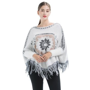 Autumn Winter Loose Tassels Jacquard Weave Manteau Pullover Sweater Fashion Women's Clothing Batwing Sleeve Knitwear Jumper