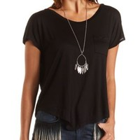 Open Back Pocket Tee by Charlotte Russe