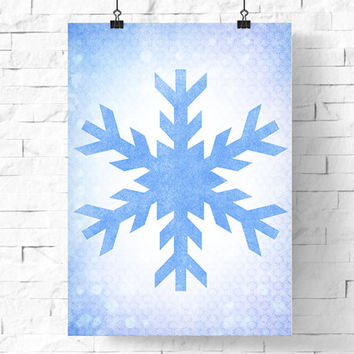 Printable Winter Poster | Textural Snowflake On Patterned Background | Winter Illustration | Instant Download | Holiday Decor | 8x10 & 5x7
