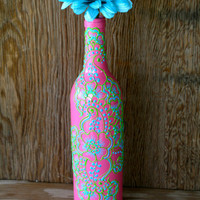 Hand Painted Wine bottle Vase, Bright Pink bottle with green and blue accents, Vibrant Henna style design
