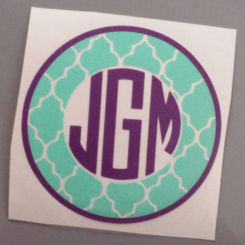 5in Monogram with Quatrefoil Sticker 2-Color Vinyl Decal