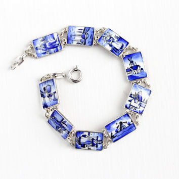 Vintage Sterling Silver White & Blue Enamel Dutch Themed Bracelet -  Retro Rectangular Panel Windmill Sailboat Souvenir Netherlands Jewelry
