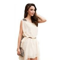 Korea Women's Sleeveless Bead Chiffon Casual Mini Dress Summer Sundress