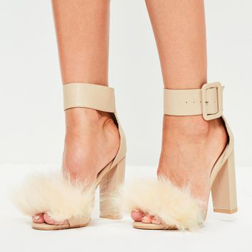 Missguided - Beige Faux Fur Vamp Block Heel Sandals