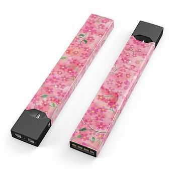 Skin Decal Kit for the Pax JUUL - Flowers with Stems over Pink Watercolor