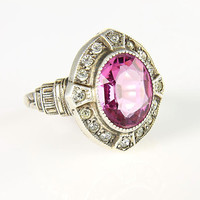 Art Deco sterling silver Ring Pink crystal ring, 1920s jewelry PSCo Plainville Stock Company
